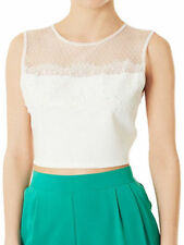 New Ex Topshop Cream Sequin Lace Mesh Panel Crop Top Sizes 8 10