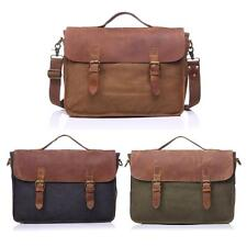 Vintage Canvas  Mens Briefcase Laptop Crossbody Shoulder Messenger Bag New S4R3