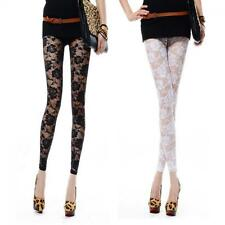 Footless Sexy Rose Hollow Leggings Lace Pants
