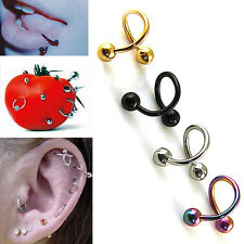 All 2pcs Stainless Steel Spiral Ear Stud Lip  Eyebrow Ring Body Piercing Jewelry