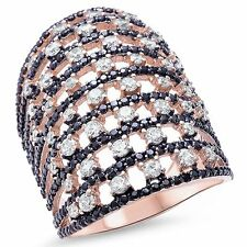 Rose Gold Plated Round Black & White Cubic Zirconia Silver Ring Sizes 5-11