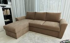 Stanford L Shape Sofa Bed with Internal Storage in Chenille Fabric - 3 Colours