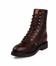 Justin Mens Briar Leather Work Boots Lace-Up Steel Toe Double Comfort
