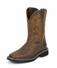Justin Mens Tan Tail Leather Work Boots 11in Stampede Comp Toe