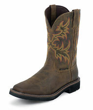 Justin Mens Tan Cowhide Leather Work Boots 11in Stampede WP Steel Toe