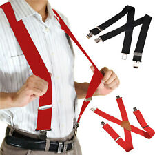 Mens Black Elastic Suspenders Braces X-Back Adjustable Clip-on Black Red