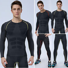 Mens Compression Base Layer Shirt Long Sleeve Top Pants Fitness Sport Activewear