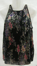 JANE NORMAN BLACK FLORAL CHIFFON PLEATED SLEEVELESS TOP SIZE: 8,10