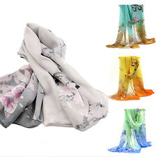 Women's Soft Long Chiffon Stole Scrawl Flower Printed Shawl Wrap Scarf Showy