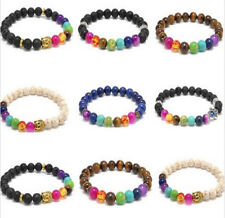 Reiki Stone Womens Bead Bracelet Charm Mens Newest 7 Chakra Healing Prayer Gift