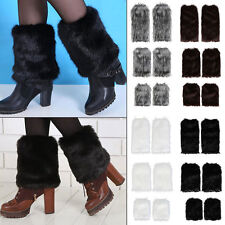 Winter Faux Fur Leg Warmer Ankle Boot Sleeve Shoes Cover Legging Shaggy Muffs UK
