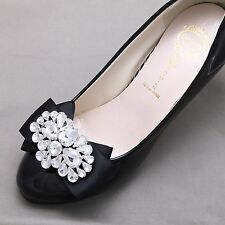 Wedding Crystal Shoes Bridal Rhinestone Bow Black Shoe Clips - Any Colors