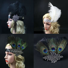 FLAPPER HEADBAND Feather Sequin Costume Gatsby Charleston Dance Headpiece 1920s