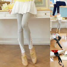 Womens Stylsih Sexy Lace Cotton Stretchy Skinny High Waist Leggings Pants Hot