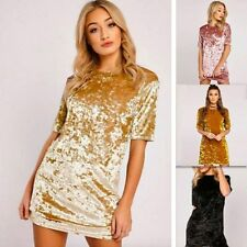 Womens Crushed Velvet Casual Tops T Shirt Loose Long Top Blouse Dress Spring New