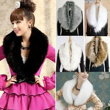 Women Luxury Faux Fur Collar Shawl Wrap Winter Warm Neck Scarf for Ladies C5S