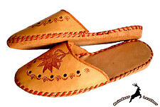 Womens Real Buffalo Leather Ladies Traditional Slippers Sandal Handmade Slip On