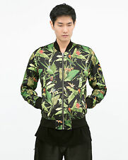 ZARA Man Authentic BNWT Black Bomber Jacket Green Leaves Sold Out S M L 1608/409
