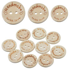 100X Handmade With Love Buttons Scrapbooking Sewing Wood Button 25mm 20mm 15mm T