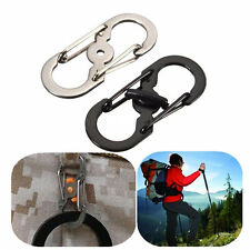 S-Ring Buckle Lock Carabiner locking Hook Clip Hiking Camping Climbing Keychain