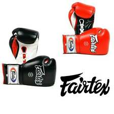 Fairtex Muay Thai 12oz Mexican Lace-Up Boxing Gloves - Red & Black