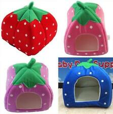 Pet Dog Cat Soft Strawberry Bed House Kennel Doggy Warm Cushion Basket 3Size Y