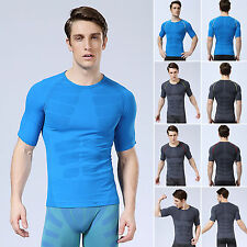 Men's Base Layer Compression Sports Fitness Gym Short Sleeve Tights Tops T-shirt