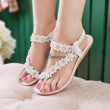 Summer Lady's Sandals Bohemia Style Flower Flat Thong Shoes For Women Strappy WT