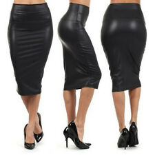 Womens PU Leather High Knee Waist Length Straight Package Hip Pencil Skirt Dress