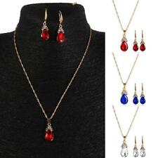 Bridal Party Teardrop Crystal Gemstone Pendant Chain Dangle Necklace Earring Set