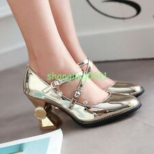 Womens Cute Lolita Shiny Buckle Heels Plus Size Mary Janes Shoes Casual Pumps