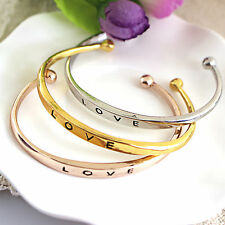 Fashion Women Gold/Silver Plated LOVE Bangle Jewelry Charm Cuff Bracelet Gift