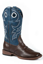 Roper Holey Youth Brown Faux Leather Saddle Blue Western Boots