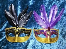 Venetian Mask Fancy MARDI GRAS Gold Purple Black Feathers Masquerade Halloween