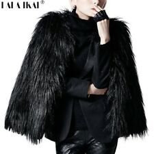 Women Winter faux Fur Coat Short evening formal Jacket black white pink