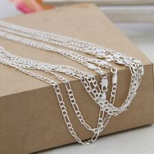 Silver 16-30inch Jewelry Men Necklace Link Chain Italy Figaro