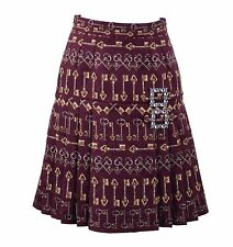 DOLCE & GABBANA Keys Printed Pleated Jacquard Silk Skirt with Brooch Red 05054