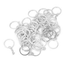 50x Keychain+Split Ring DIY 25mm Silver Keyring Short Chain Key Rings