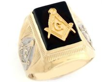 10k / 14k Gold Two-Tone Onyx Masonic Mens Ring