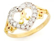 10k / 14k Gold Heart Shape Letter 'a' Initial CZ Ring Jewelry