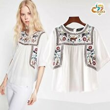 Vintage white Hippie floral Embroidered Boho tunic ETHNIC TOP shirt Blouse S-L
