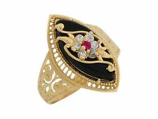 10k / 14k Yellow Gold Onyx White CZ Simulated Ruby Fancy Flower Ladies Ring