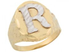 10k or 14k Two Tone Real Gold Large Letter R Initial Mens Ring
