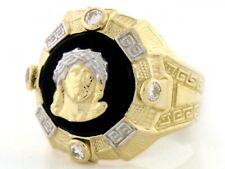 10k or 14k Solid Gold Two-Tone Mens Onyx Jesus Head CZ Ring