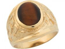10k or 14k Yellow Gold Synthetic Tigers Eye Grand Nugget Band Mens Ring