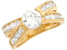 10k or 14k Solid Yellow Gold White CZ Anniversary Band Ladies Ring