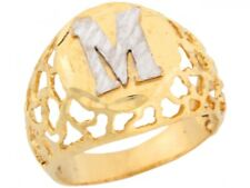 10k or 14k Two Tone Gold Filigree Letter M Bold Mens Initial Ring