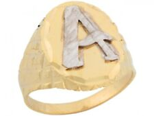 10k or 14k Two Tone Real Gold Large Letter A Initial Mens Ring