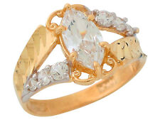 10k / 14k Two-Tone Gold White CZ Simulated April Birthstone Vintage Style Ring