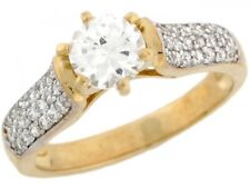 10k or 14k Two Toned Real Gold White CZ Solitaire Engagement Womens Ring